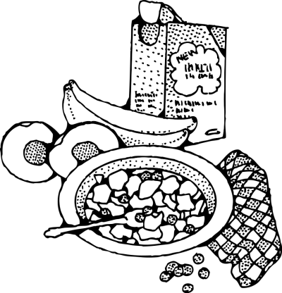 Breakfast Clipart Black And White PNG.