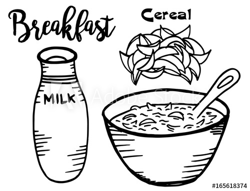 Hand drawn black and white breakfast Illustration of cereals and.