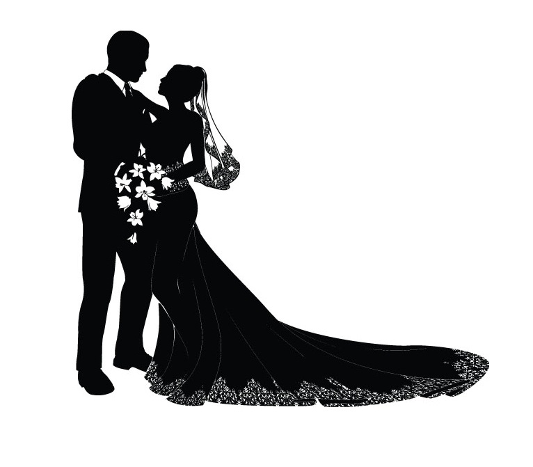 Ceremony clipart bride and groom silhouette pencil inlor.