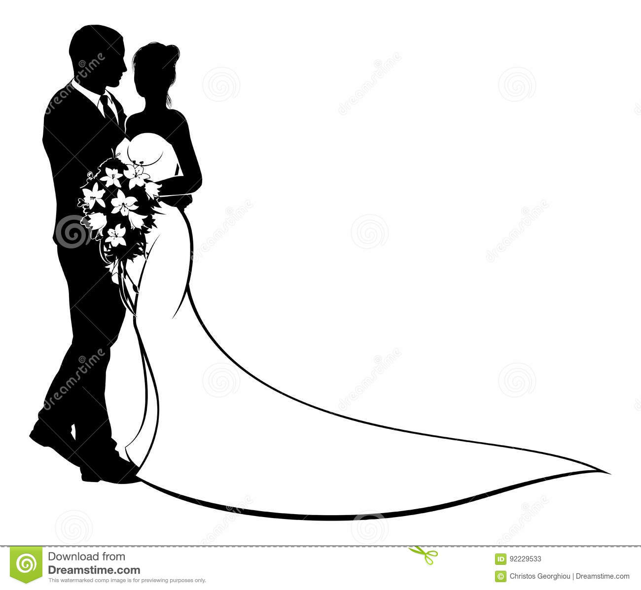 Bride And Groom Silhouette Wedding Concept Stock Vector.