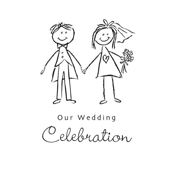 18 Awesome bride and groom cartoon black and white images.