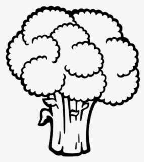 Free Broccoli Black And White Clip Art with No Background.