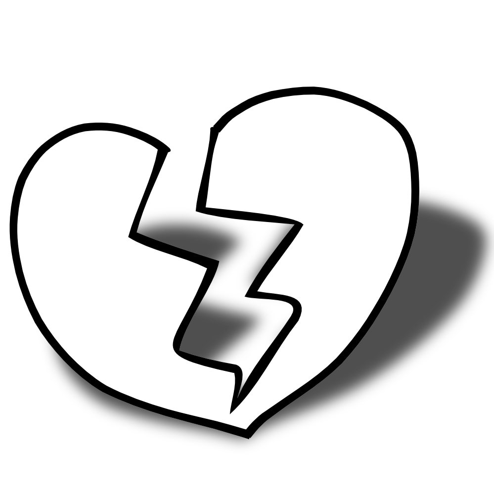 Broken Heart Clipart Black And White.