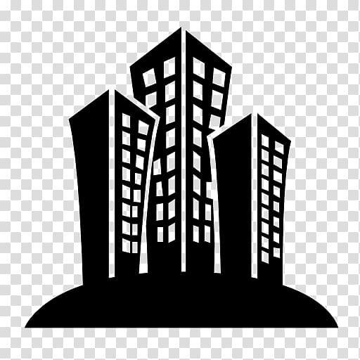 Silhouette of buildings, Building Computer Icons Black and.