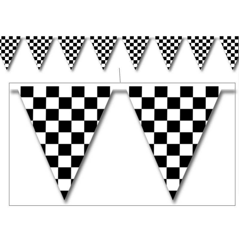 Black and White Checkered Flag Bunting (3.6m).