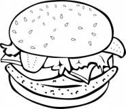 Black And White Burger Clipart.