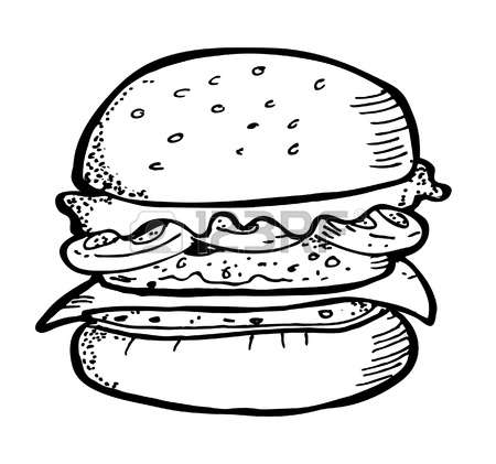 Burger clipart black and white 2 » Clipart Station.