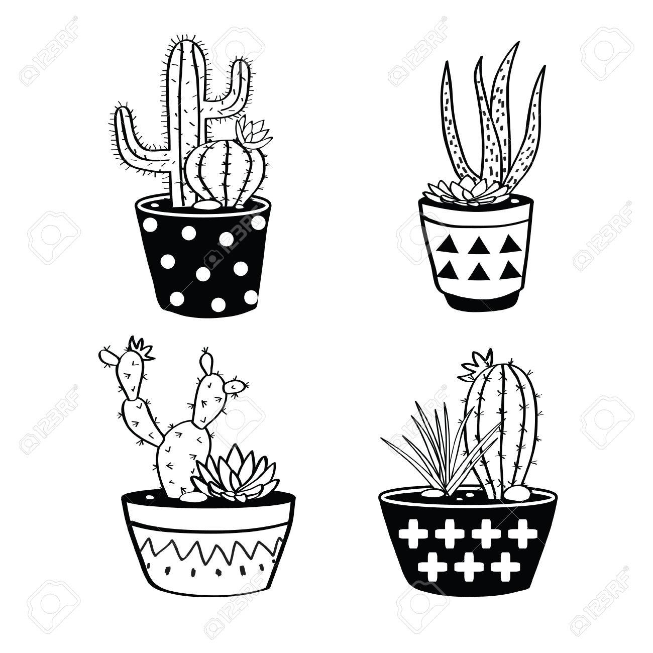 Black And White Cactus Clipart & Free Clip Art Images #17694.