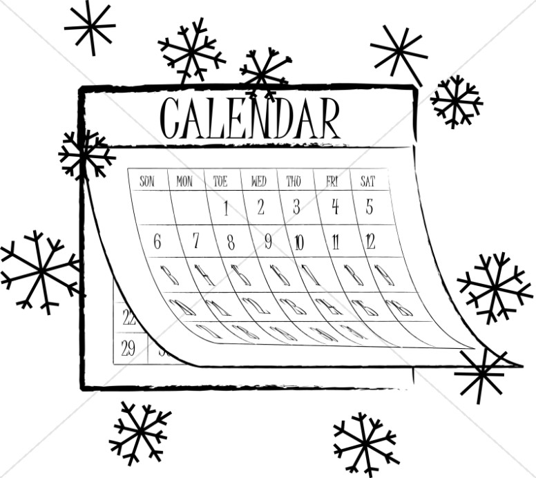 Black and White Snowflake Calendar.