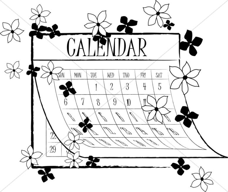 Black and White Spring Calendar.