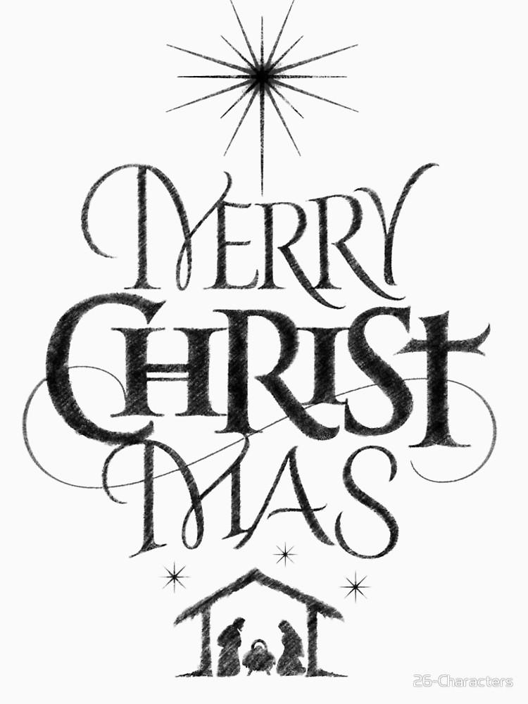 Merry christmas black and white religious christian.