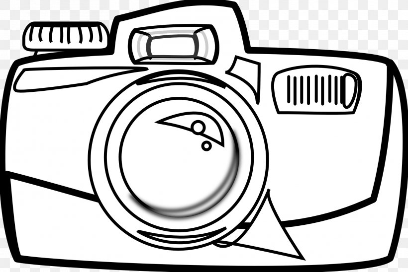 Camera Cartoon Black And White Clip Art, PNG, 1969x1318px.