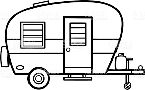 camper clipart black and white.