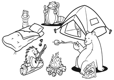 Black and white camping clipart 8 » Clipart Station.