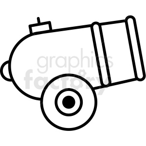 black and white circus cannon icon clipart. Royalty.