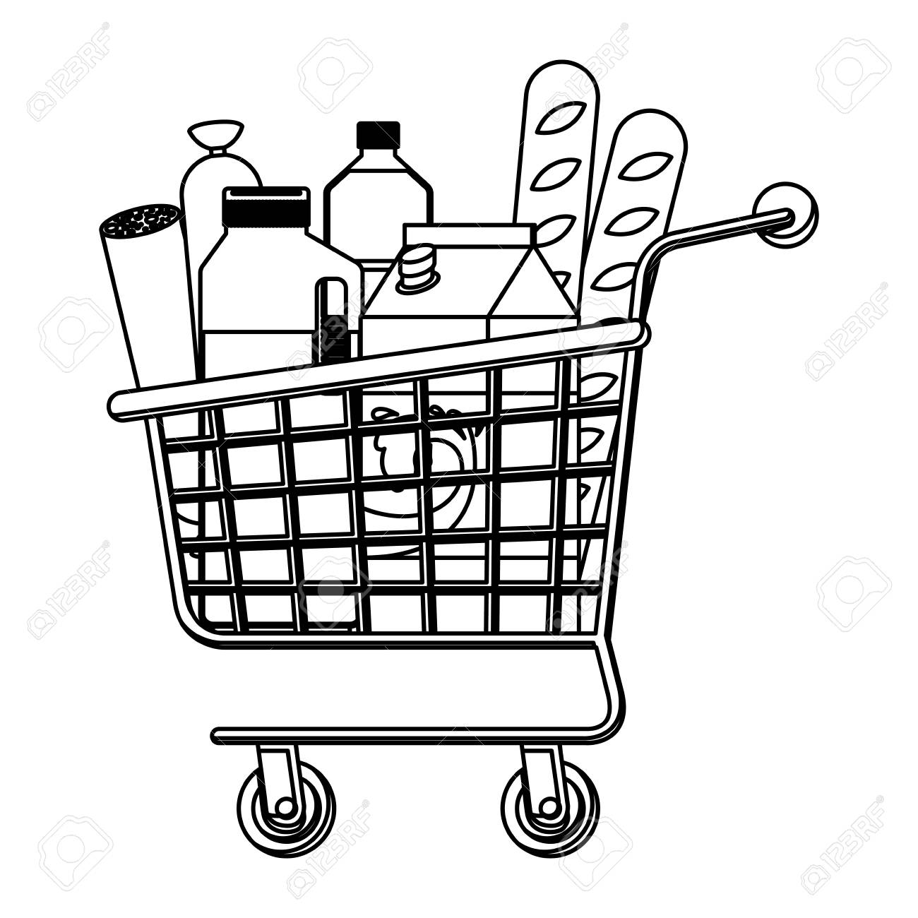 Shopping Cart Clipart Black And White.