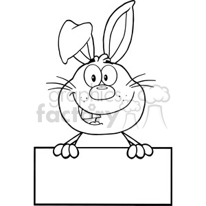 Royalty Free RF Clipart Illustration Black And White Cute Rabbit Cartoon  Mascot Character Over Blank Sign clipart. Royalty.