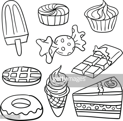 Showing post & media for Cartoon food black and white.