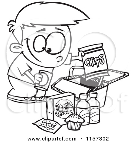 Black And White Cartoon Food Clip Art.