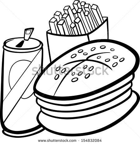 Black White Cartoon Illustration Fast Food Stock Illustration.