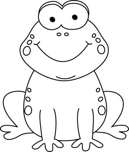 Black and White Cartoon Frog Clip Art.