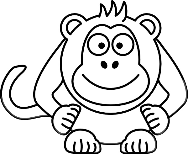 Black And White Cartoon Monkey Clip Art at Clker.com.