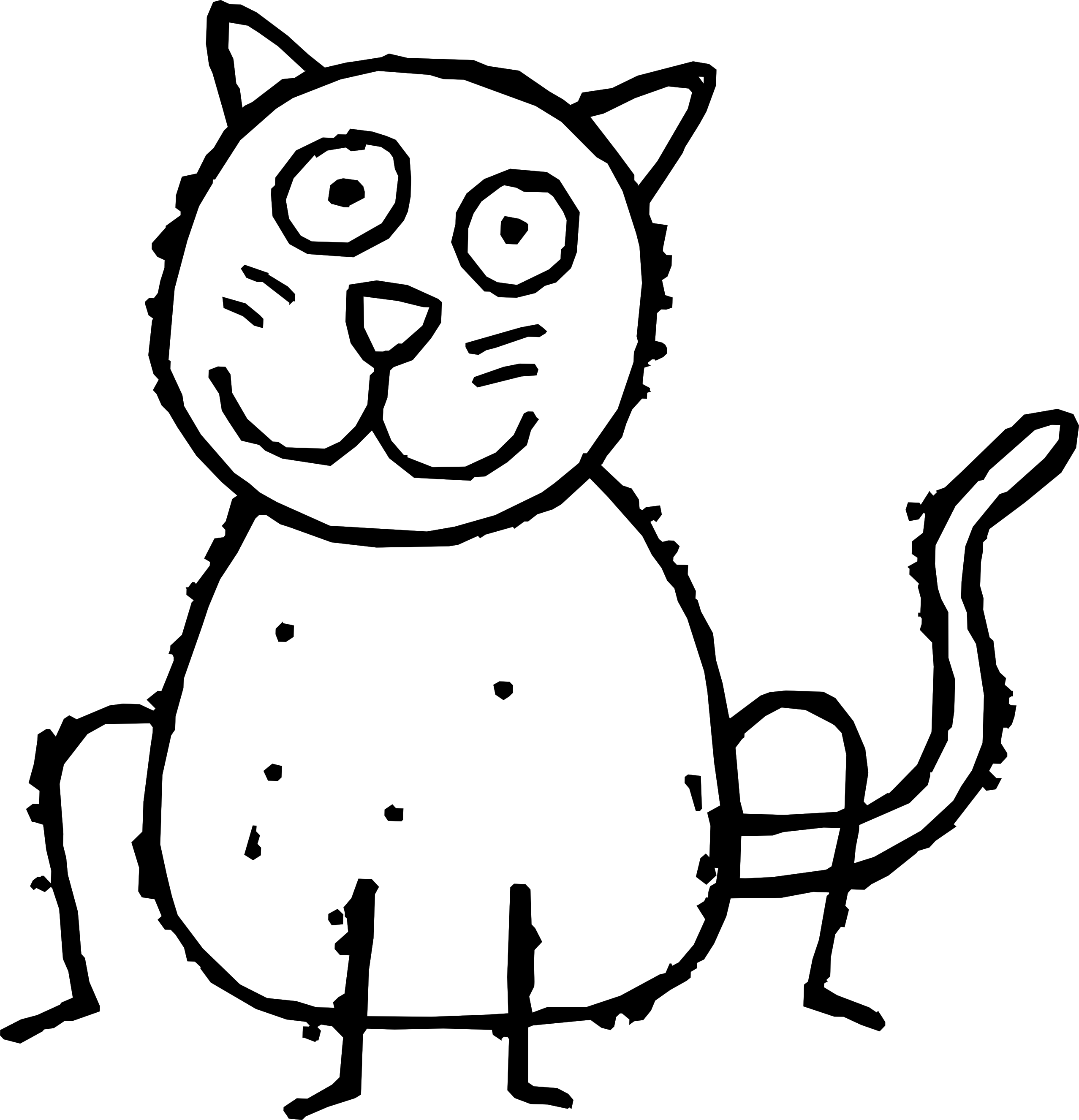 Clipart black and white cat.