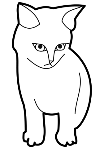 Black and white cat clipart #7