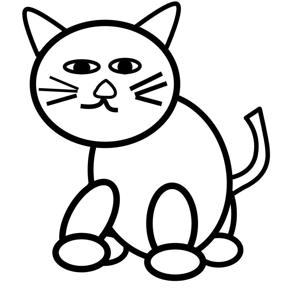 Cat Black And White Clipart.