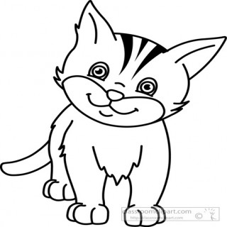 227 Cat Black And White free clipart.