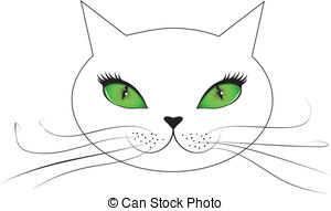 Vector Illustration of Black Cat Face with Green Eyes.