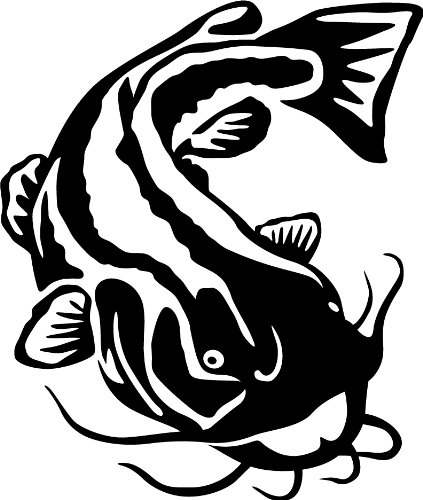Flathead Catfish Wall Decal (Black.