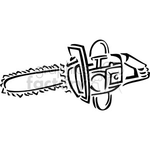 black and white chainsaw clipart. Royalty.