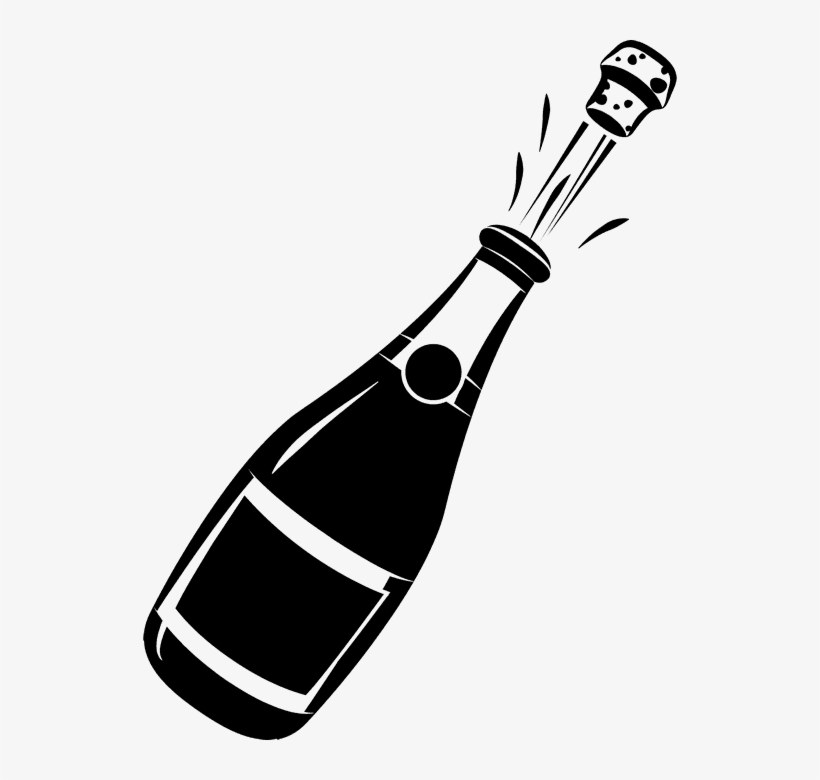 Banner Black And White Library Champagne Bottle Clipart.
