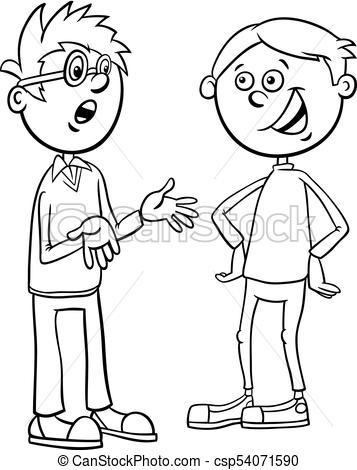 boys kid characters talking cartoon coloring page.
