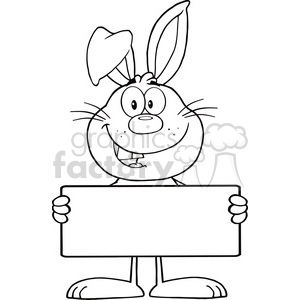 Royalty Free RF Clipart Illustration Black And White Funny Rabbit Cartoon  Character Holding A Banner clipart. Royalty.