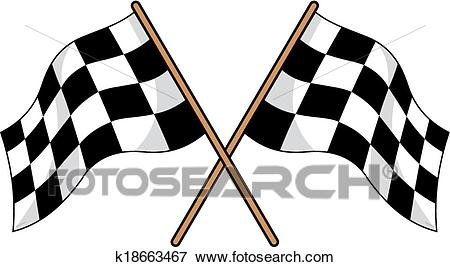 Two crossed black and white checkered flags Clip Art.