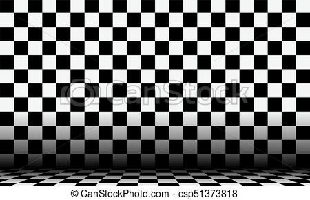 Black and white checkered abstract cosmic background with perspective view..
