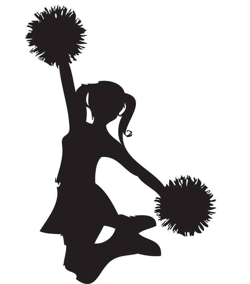 cheerleader clip art black and white.