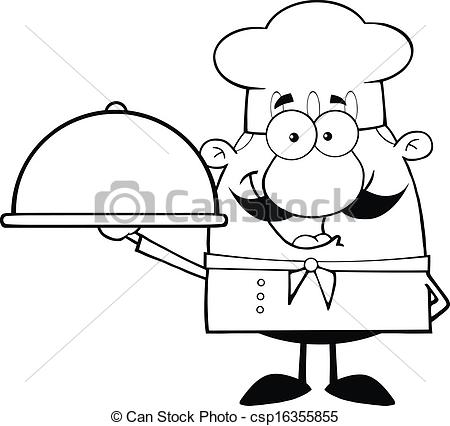 Black and white happy chef cartoon character holding a platter.