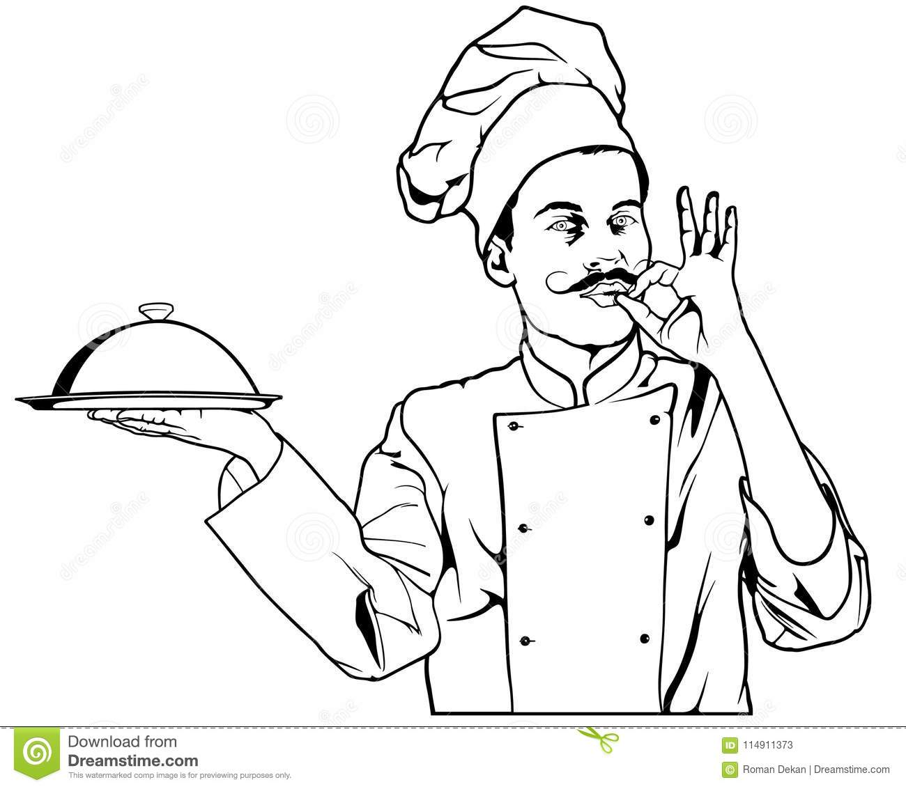 Chef Gesture Delicious And Holding A Cloche Platter Tray Stock.