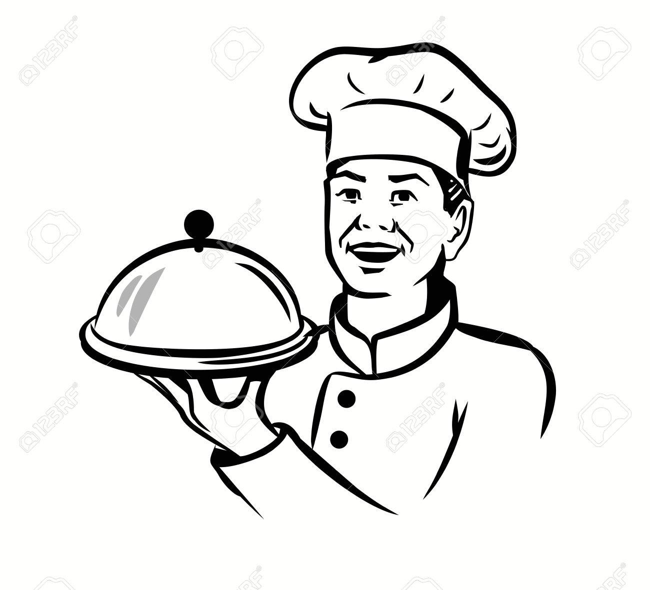 Vector Black Chef With Hat And Hot Plate On White Background Royalty.