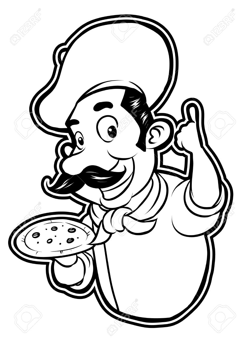 Black And White Clipart Pizza Chef Royalty Free Cliparts, Vectors.