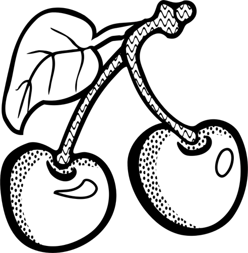 Vector graphics of two cherries in black and white.