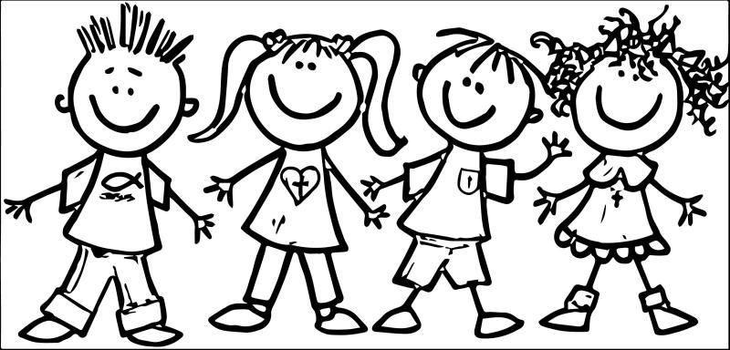 Free black and white clipart of children collection.