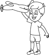 Free Black and White Children Outline Clipart.
