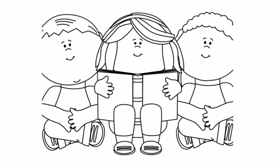 Children Reading Clipart Black And White.