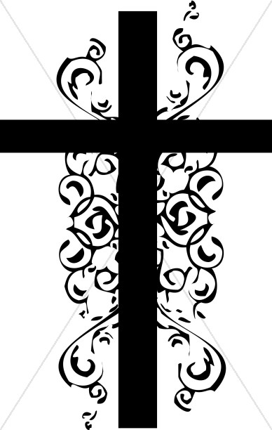Black and White Christian Cross Clipart.