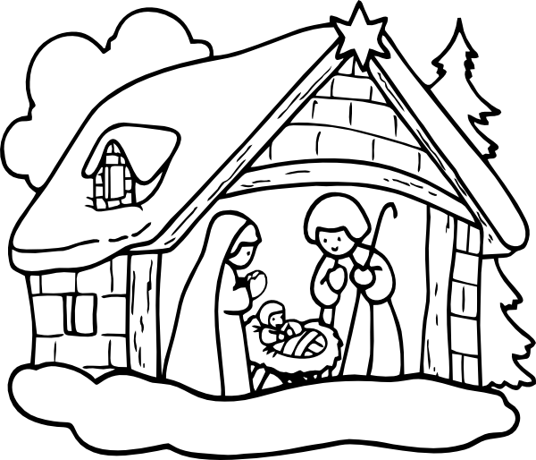 Christmas Nativity Clipart Black And White.