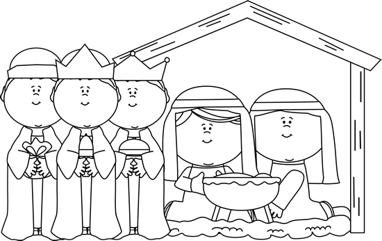 Black and White Nativity Scene with Wise Men Clip Art.